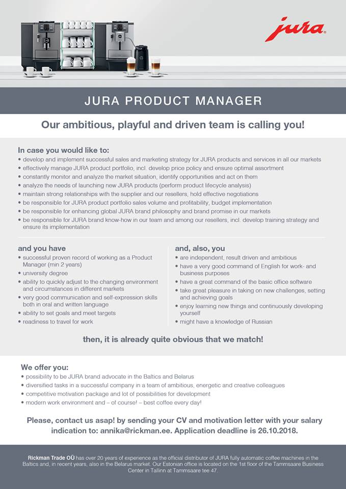 Jura Product Manager – Ebster